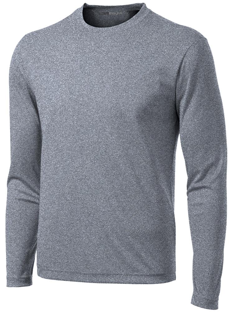 deb02fc4e2 DRI-EQUIP Men's Long Sleeve Moisture Wicking Heathered T-Shirts in XS-4XL.  Loading zoom