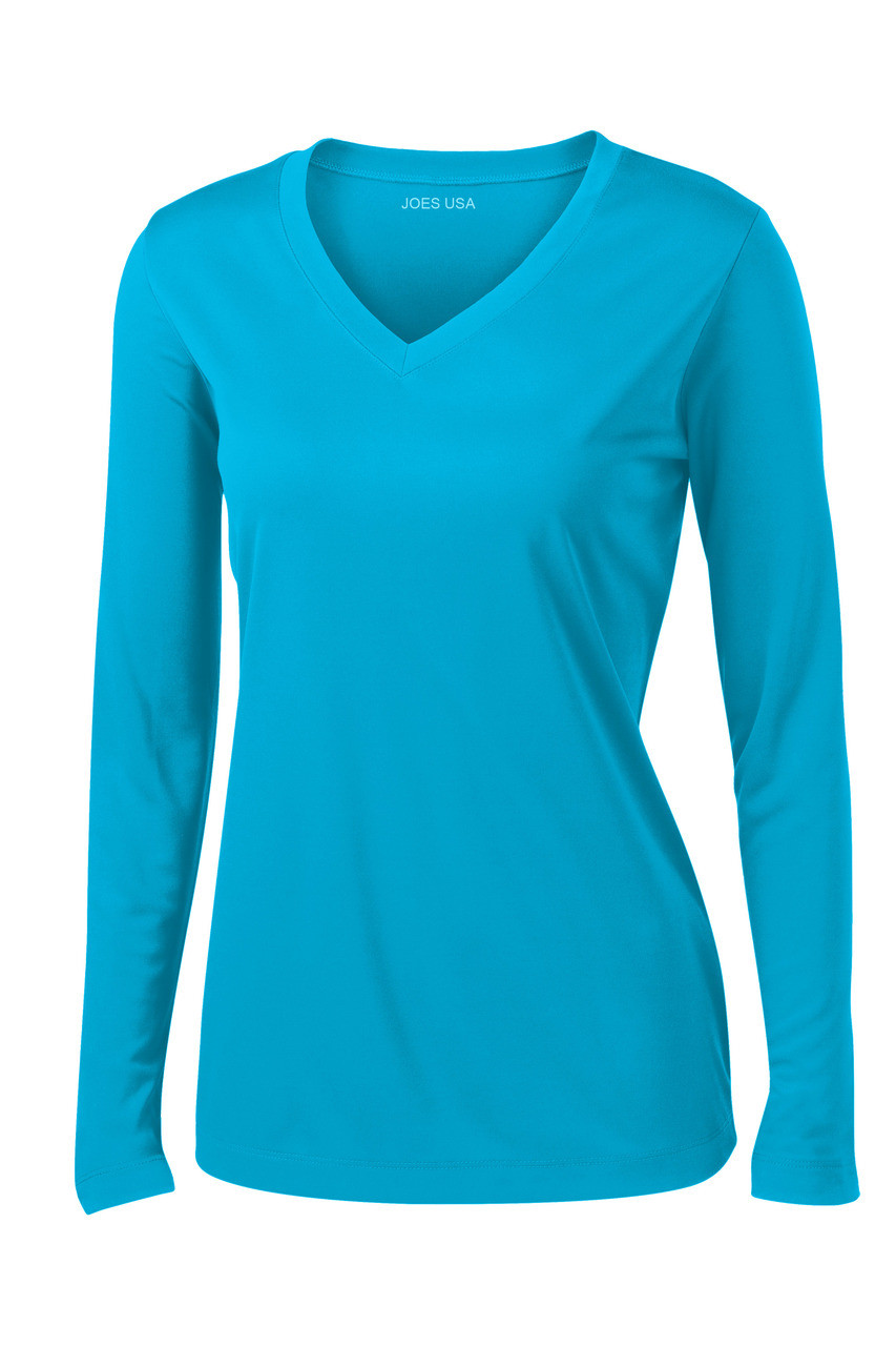 40752749e967 Ladies Long Sleeve Moisture Wicking Athletic Shirts in Sizes XS-4XL ...