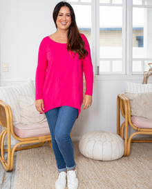 SLOUCH LONG SLEEVE HOT PINK TEE