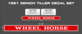 36 INCH OR 50 INCH MOUNTED WHEEL HORSE TILLER DECAL SET