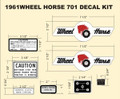 701 WHEEL HORSE DECAL SET FOR 701