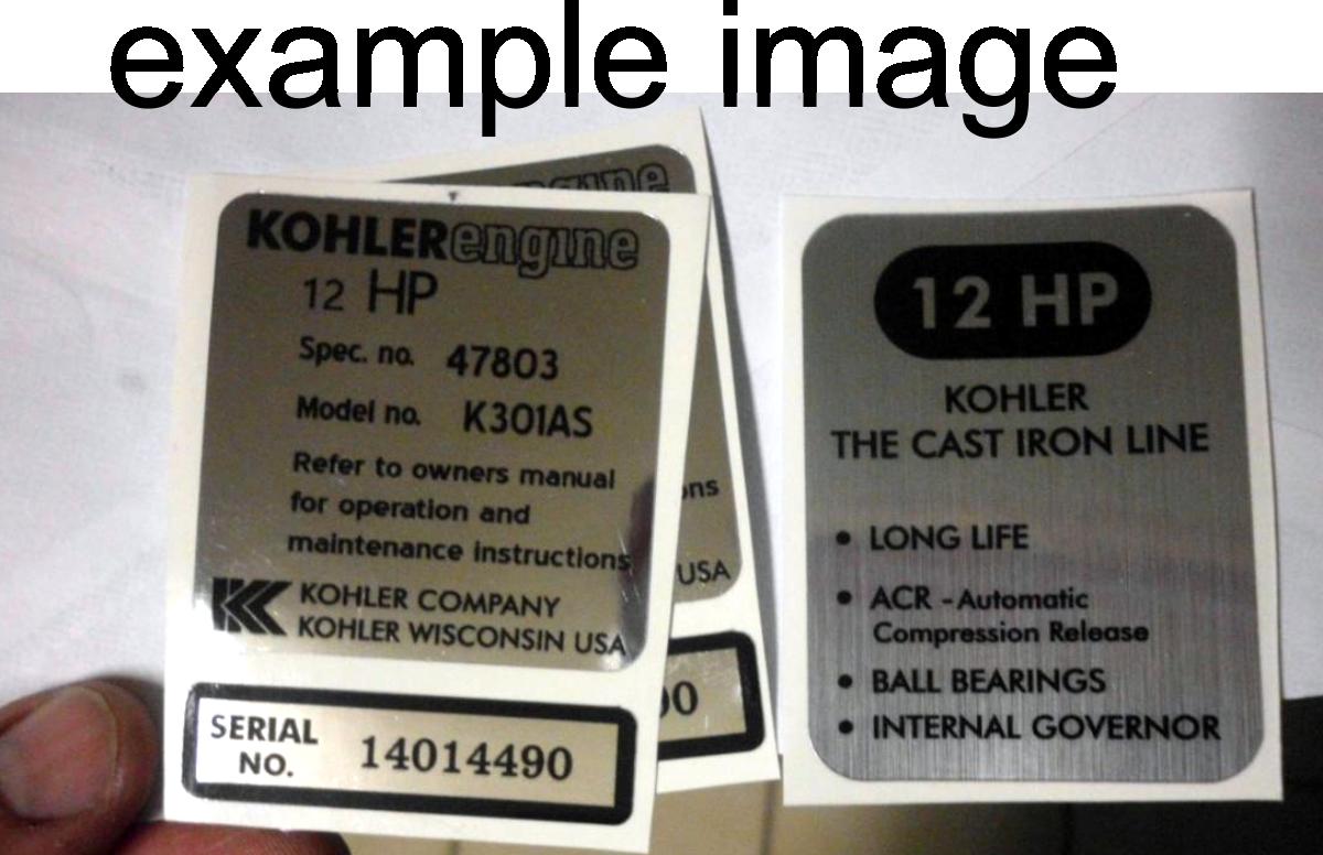 KOHLER ENGINE REPRODUCTION DECALS INTERNAL GOVERNOR