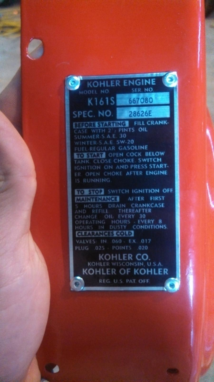 KOHLER ENGINE SPEC PLATE DECALS