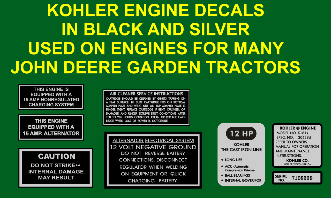 KOHLER SEVEN PC REPRODUCTION ENGINE DECAL SET INTERNAL GOVERNOR