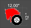 12 x 12  inch wheel horse decals