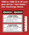 MOWER DECK DECAL KIT FOR 1966 TO 69 32 AND 36 IN. REAR DISCHARGE