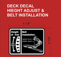 MOWER DECK HEIGHT AND BELT INSTALL B/W