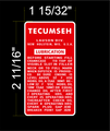 TECUMSEH ENGINE LUBRICATION DECAL
