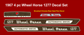 WHEEL HORSE 1277 or 1276 WOOD GRAIN  REPRODUCTION DECAL SET 4PC