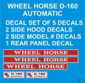 WHEEL HORSE D-160  AUTOMATIC  REPRODUCTION DECAL SET