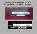 1989 520-H ID TAG WITH CLEAR PROTECTIVE OVERLAY