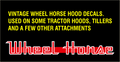 1 PAIR OF WHEEL HORSE SCRIPT REPRODUCTION HOOD DECALS USED ON TILLERS AND SOME TRACTORS