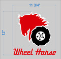 Horse and Tire Decal with Wheel Horse Script 12 x 12 Inch