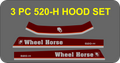 WHEEL HORSE  3 PIECE 516-H, 518-H, 518-HC 520-H, 520-HC  DECAL REPRODUCTION SET