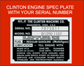 CLINTON ENGINE SPEC PLATE DECAL