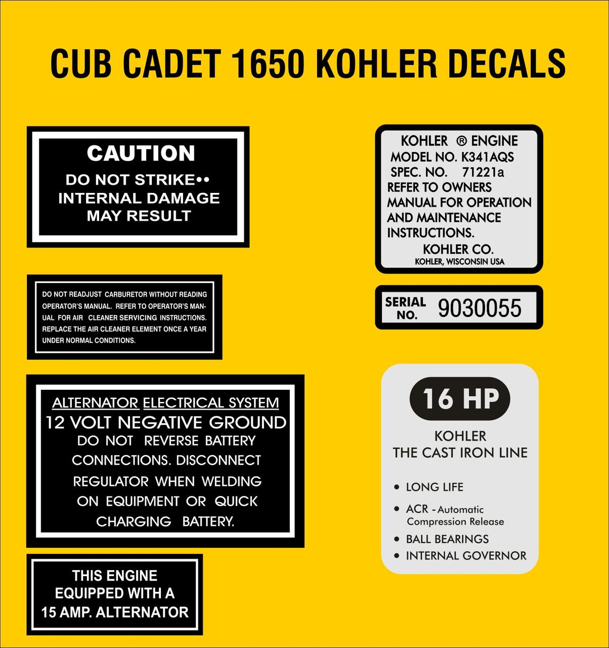 CUB CADET KOHLER K341AQS ENGINE REPRODUCTION DECAL SET