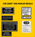 CUB CADET KOHLER K341AQS ENGINE REPRODUCTION DECAL SET