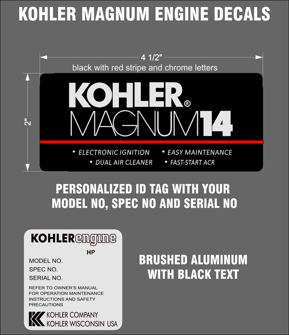 KOHLER MAGNUM ENGINE REPRODUCTION DECALS