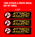 1996 anniversary design ATTACH-A-MATIC Decal set of 3