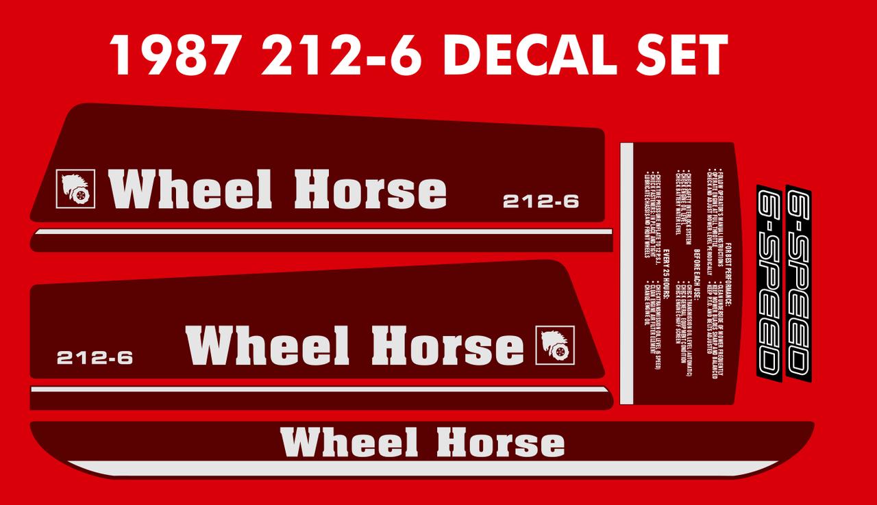 WHEEL HORSE 1987 212-6 Hood and Fender Decal set