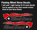 FLAMING HORSES WHEEL HORSE  DECALS 23 inch x 6 inch