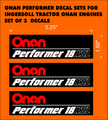 ONAN PERFORMER 18XSL DECAL PACK OF THREE FOR INGERSOLL ONAN