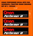ONAN PERFORMER 18XSL DECAL PACK OF THREE FOR INGERSOLL ONAN