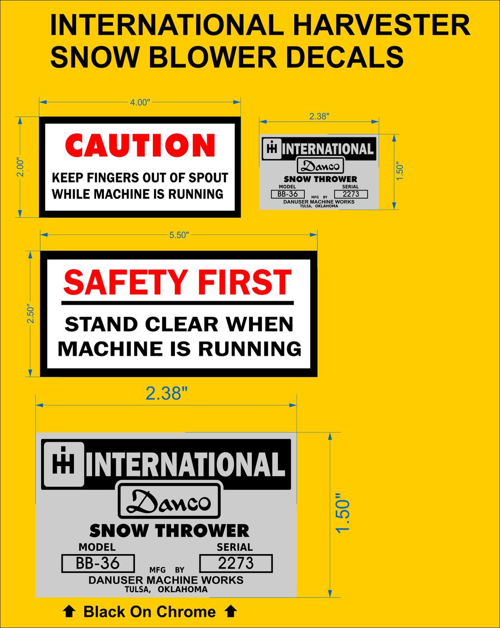 Cub Cadet International Harvester Danco Snow Blower Reproduction Decals Redo Your Horse