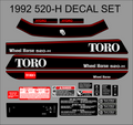 1992 WHEEL HORSE 520-H DECAL KIT