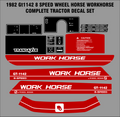 1982 GT1142 8 SPEED  WORKHORSE  BY WHEEL HORSE TRACTOR DECAL SET