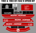 1982 AND 1983 GT1642 TWIN 8 SPEED  WORKHORSE  BY WHEEL HORSE TRACTOR DECAL SET
