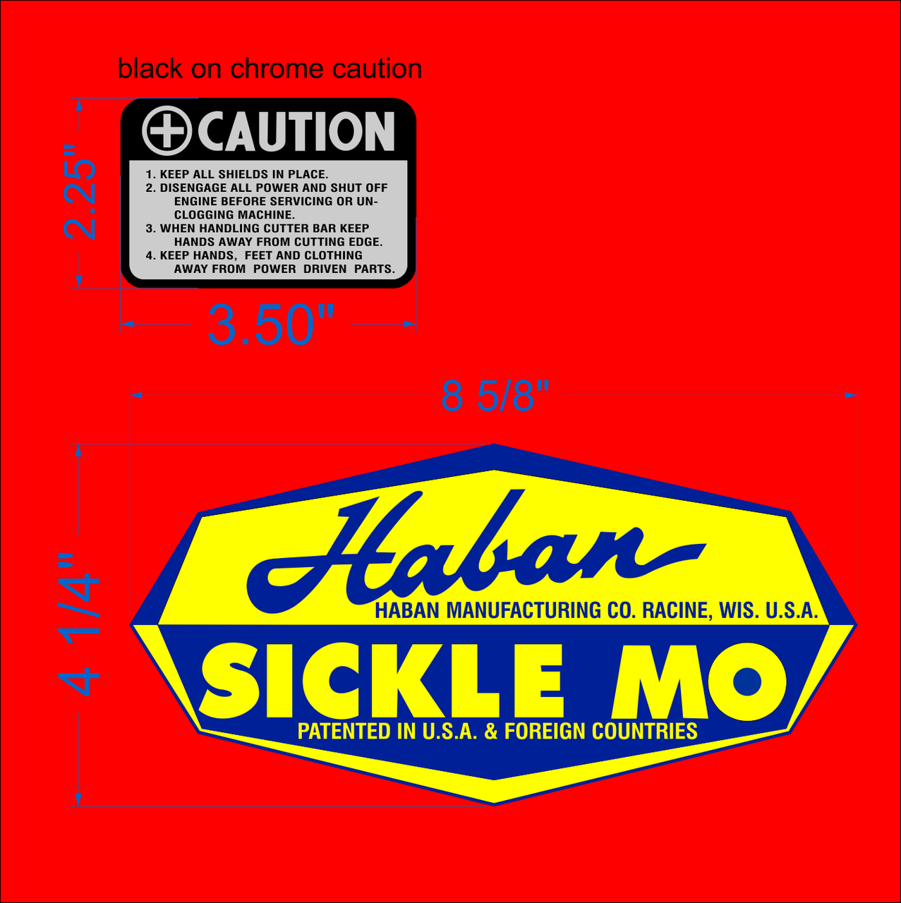 HABAN SICKLE BAR MOWER DECALS