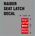 RAIDER SEAT LATCH DECAL