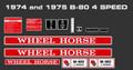 WHEEL HORSE 1974 AND 1975 B-80 4 SPEED DECAL KIT