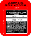 CLINTON ENGINE SPEC PLATE DECAL DESIGN 2