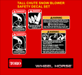 TALL CHUTE SINGLE STAGE SNOW BLOWER SAFETY DECAL SET 6 PC