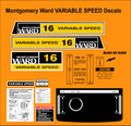 MONTGOMERY WARD 16 VARIABLE SPEED DECALS