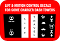 CHARGER DASH TOWER DECALS LIFT AND MOTION CONTROL