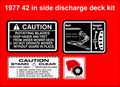 1977 42 INCH SIDE DISCHARGE DECK DECAL SET