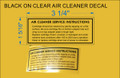 KOHLER BLACK PRINT ON CLEAR AIR CLEANER MAINTENANCE DECAL