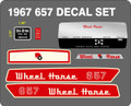 WHEEL HORSE 607, 657, 857, 877, 1057, 1067, 1077, 1257, 1267, 1277 complete decal kits with dash decal