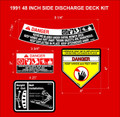 1991  48 INCH SIDE DISCHARGE DECK DECAL SET