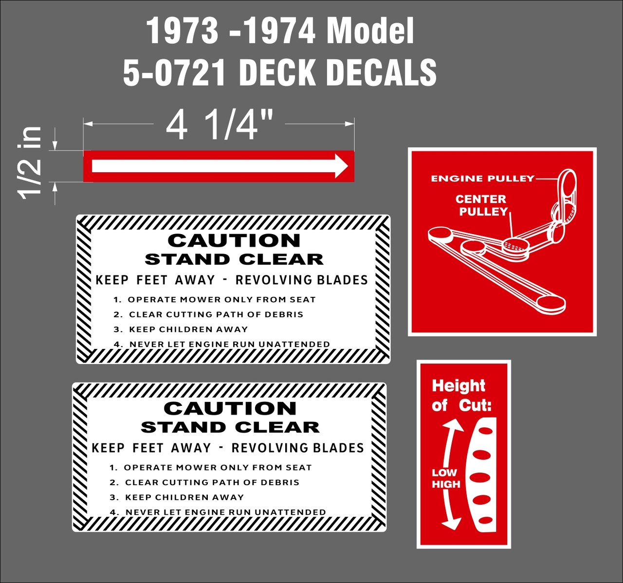 WHEEL HORSE 36 INCH SIDE DISCHARGE DECK DECALS FOR MODEL 5-0721 1973 and  1974