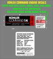 KOHLER COMMAND 14 PRO SERIES ENGINE DECAL SET