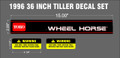 1996 WHEEL HORSE 36 INCH MOUNTED TILLER DECAL SET