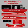 1983 LT-1137 3 SPEED  WORKHORSE  BY WHEEL HORSE TRACTOR DECAL SET