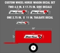 CUSTOM WHEEL HORSE WAGON DECAL SET OF THREE DECALS