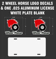 2 WHEEL HORSE TRUCK WINDOW DECALS  5.75 IN.  WIDE  X  5 IN. HIGH & 1 ALUMINUM LICENSE PLATE BLANK