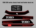 1990 300 series classic  5  PC HOOD FENDER DECAL SET SET