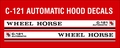 C-121 AUTOMATIC WHEEL HORSE HOOD DECALS 1978 THROUGH 1979
